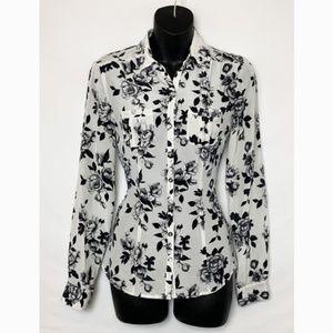 NWOT -WHBM White Silk Button Up Shirt Black Floral